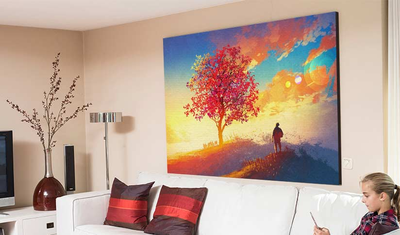 Man standing on beautiful land photo printed on large canvas