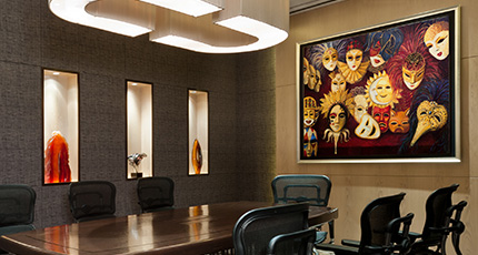Business meeting room with carpet and bright lit - meeting room wall art