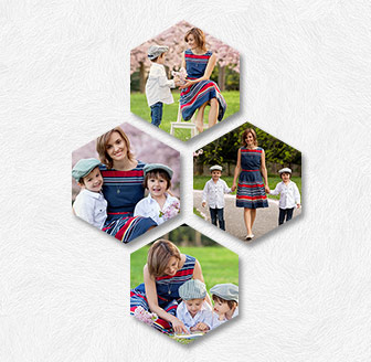 Vertical Hexagonal Prints Bundle of 4