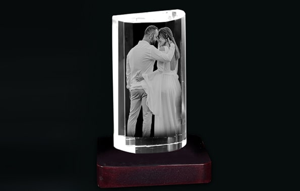 Personalised 3D Crystal Cube with a Light Base